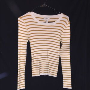 Forever 21 Tops - Rust Yellow and Cream White Striped Long Sleeve